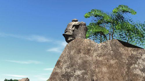 軌道再現「天狗の投石・スルス岩」