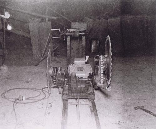 A stone crusher for Oya stone (inside the quarry of Watanabe Stonemason's Store)