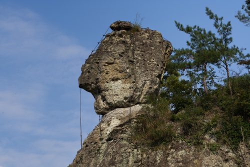 """Oddly-shaped Rock """"Stone thrown by Tengu, a legendary creature in ancient Japanese folklore"""""""